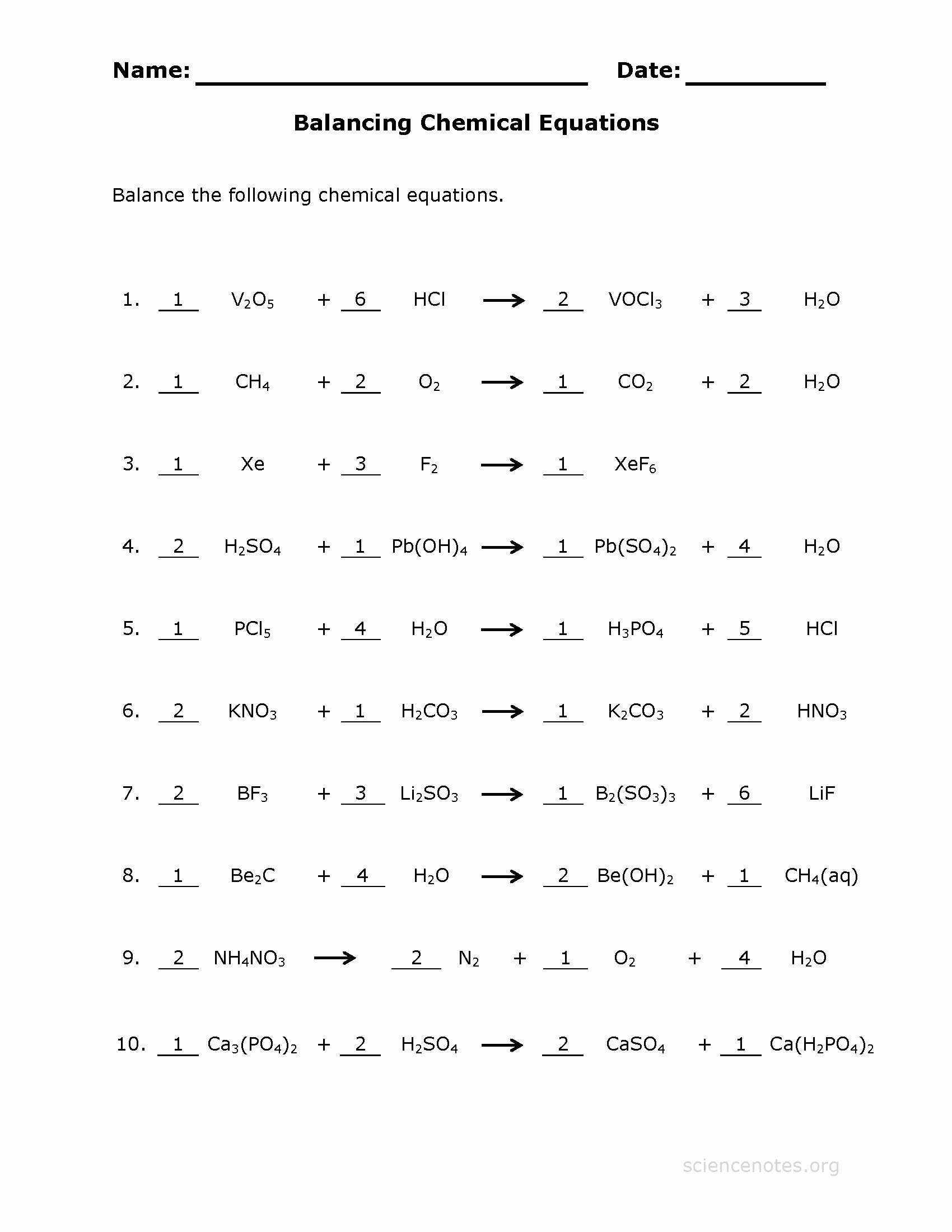 Chemical Reactions Worksheet Answers Inspirational Balance Chemical Equations Worksheet 3 Answer Key
