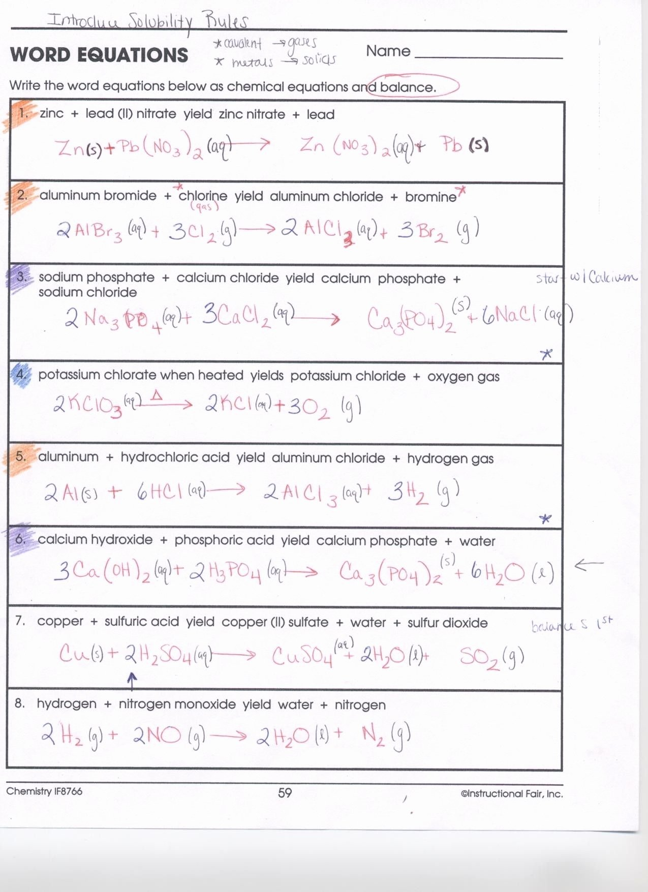 Chemical Reactions Worksheet Answers Lovely Balancing Chemical Equations Worksheet Answer Key
