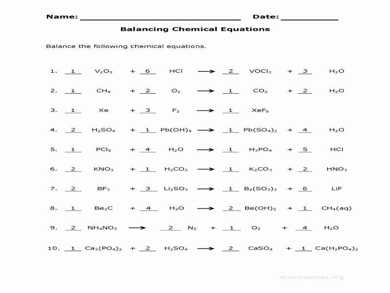 Chemical Reactions Worksheet Answers New Balancing Chemical Equations Worksheet Answers