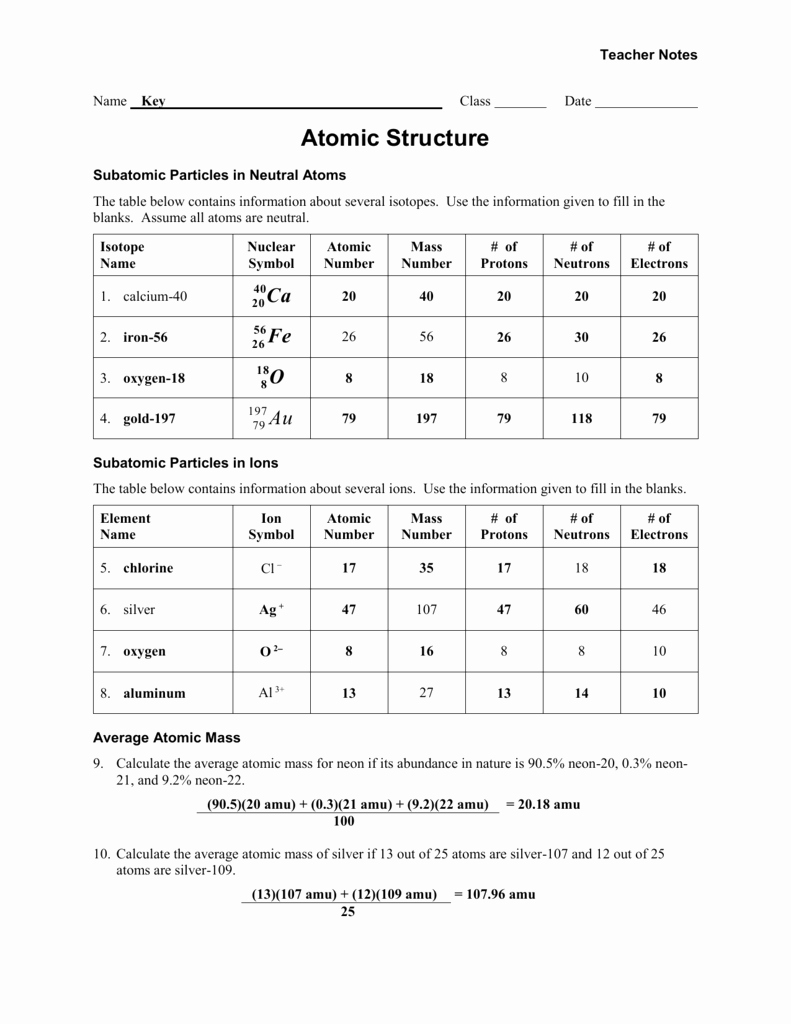 Chemistry atomic Structure Worksheet New atomic Structure Worksheet 1 Answer Key
