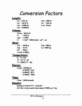 Chemistry Conversion Factors Worksheet Fresh Conversion Factors by Intrepid Education