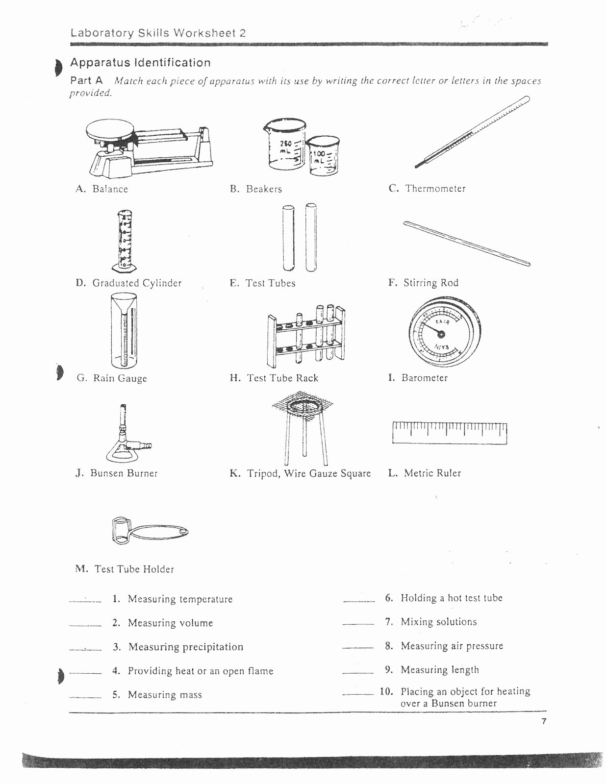 Chemistry Lab Equipment Worksheet Fresh Lab Equipment Labeling Worksheet