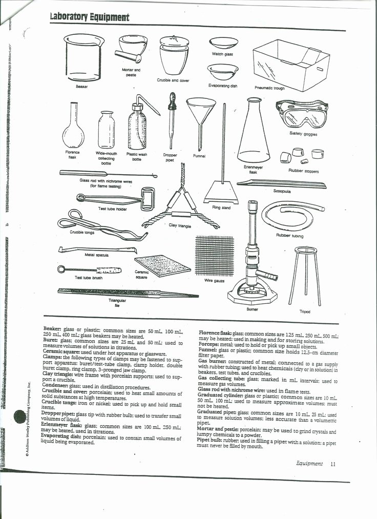Chemistry Lab Equipment Worksheet Luxury Chemistry Lab Equipment Bing