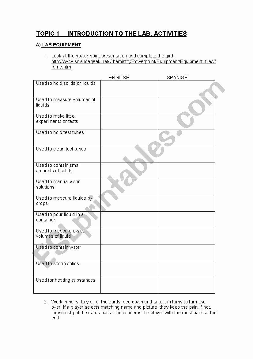 Chemistry Lab Equipment Worksheet Luxury Lab Equipment Esl Worksheet by Gallarza