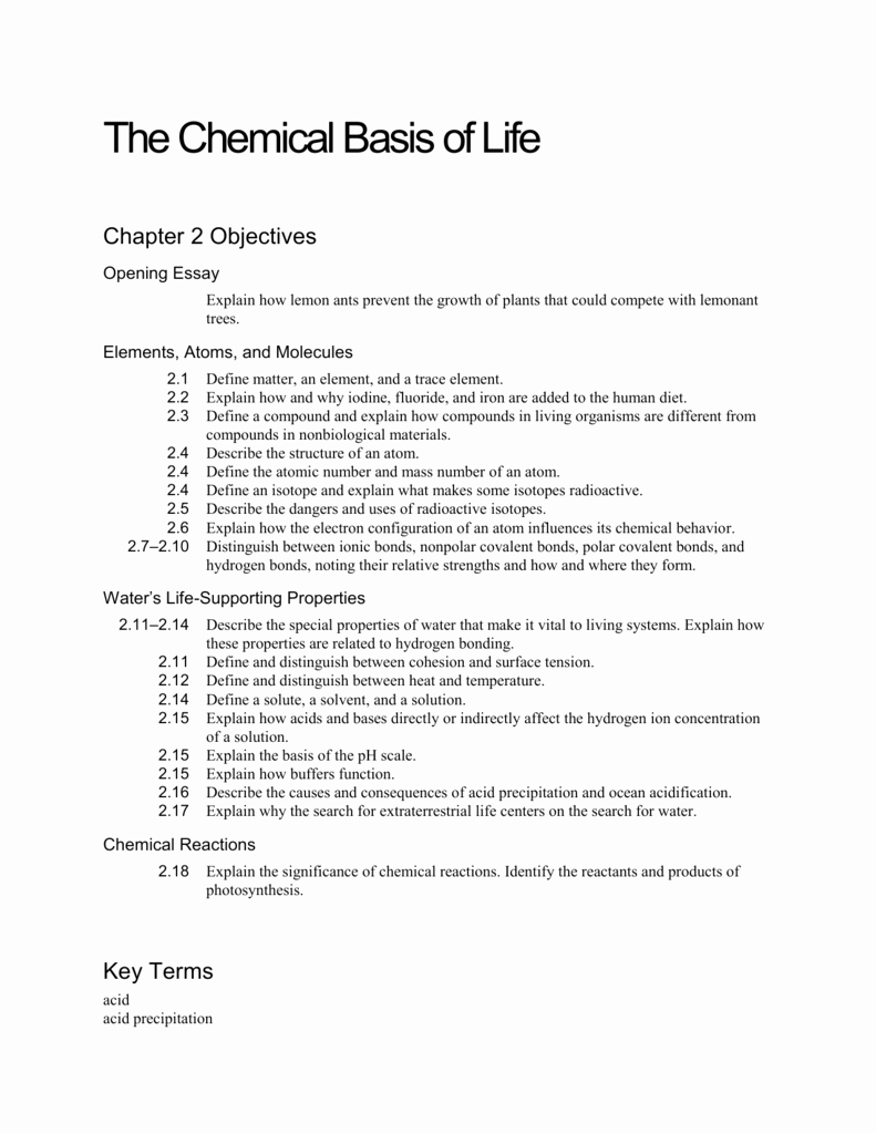 Chemistry Of Life Worksheet Lovely Ch 2 Objectives the Chemical Basis Of Life