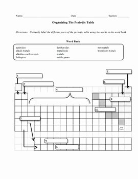 Chemistry Periodic Table Worksheet New organizing the Periodic Table Worksheet
