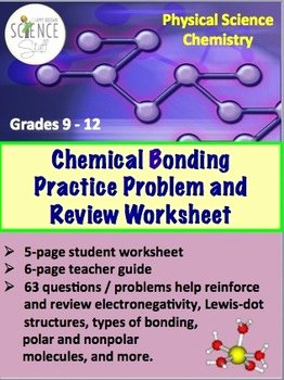 Chemistry Review Worksheet Answers Unique Chemical Bonding Practice Problem and Review Worksheet by