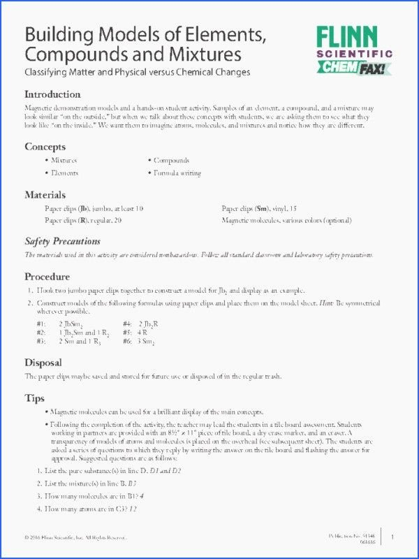 Chemistry Worksheet Matter 1 Answers Best Of Classification Matter Worksheet Chemistry Answers