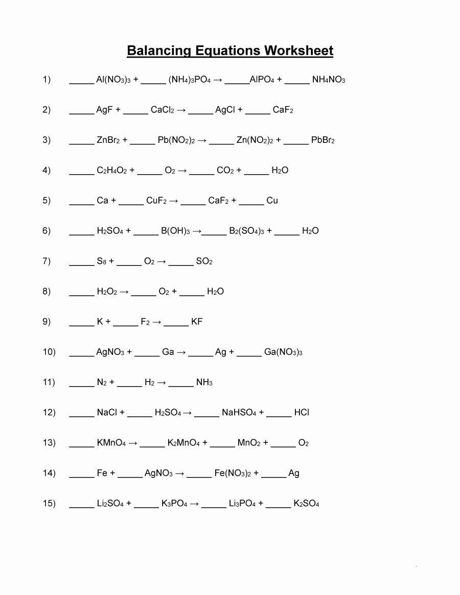 Chemistry Worksheet Matter 1 Answers Inspirational Word Equations Chemistry Worksheet Balancing Chemical