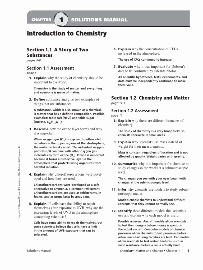 Chemistry Worksheet Matter 1 Answers Luxury Chapter 2 Matter and Change Worksheet Answers