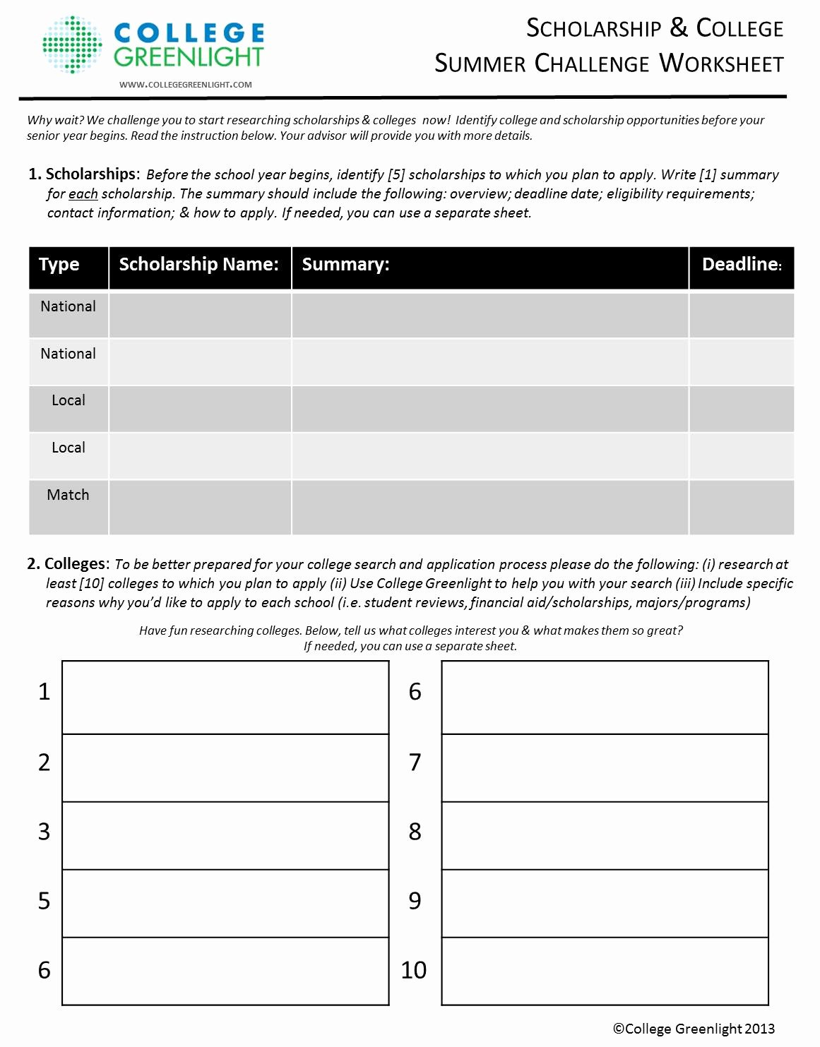 Choosing A College Worksheet Beautiful Build Your College and Scholarship List with This Helpful