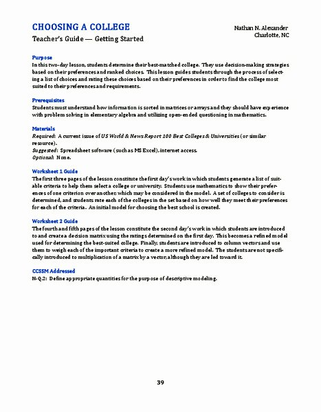 Choosing A College Worksheet Best Of Decision Making Skills Lesson Plans & Worksheets