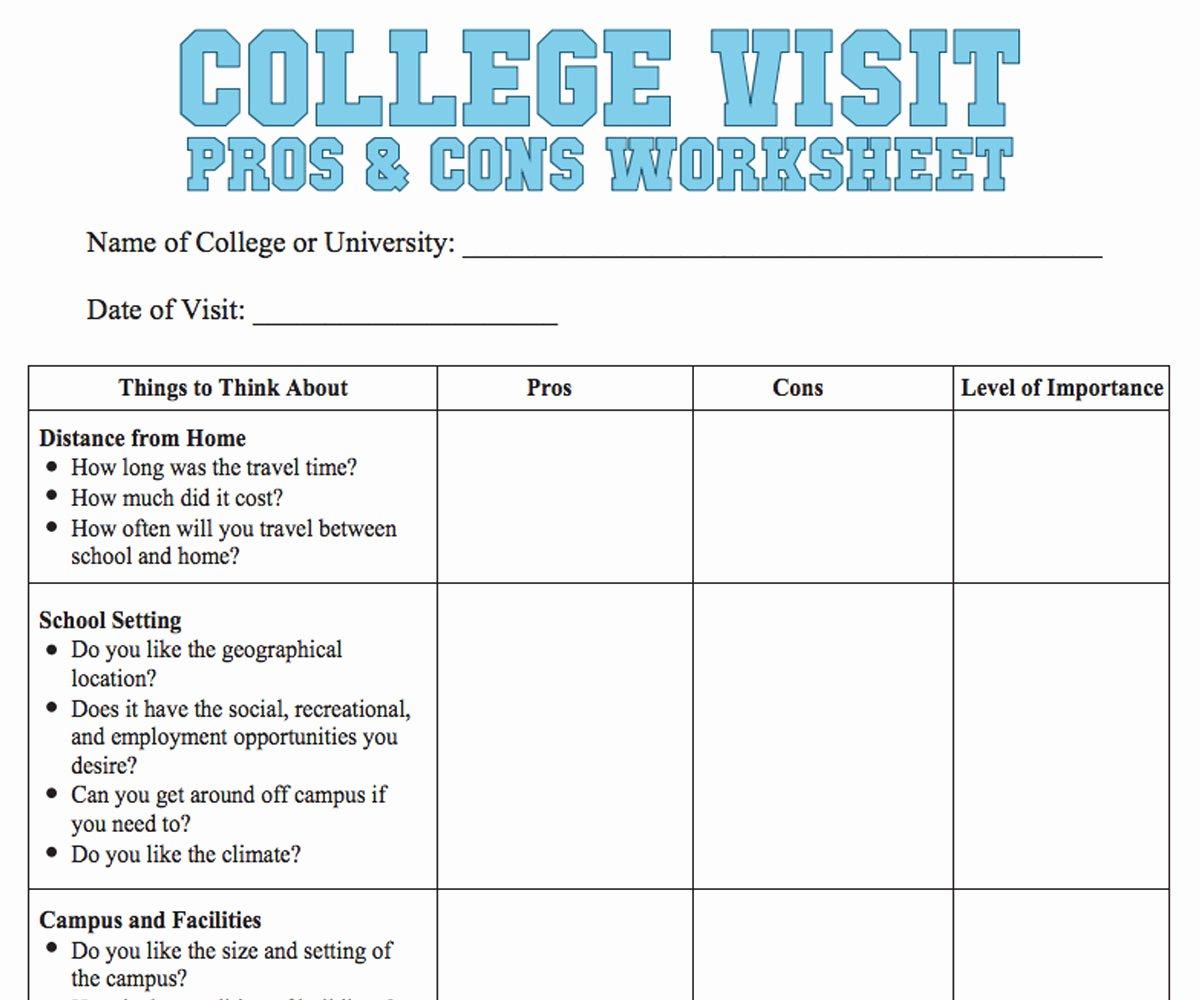 Choosing A College Worksheet Elegant College Visit Checklist Worksheet Familyeducation