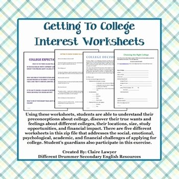Choosing A College Worksheet Lovely College Counseling Student Interest Worksheets