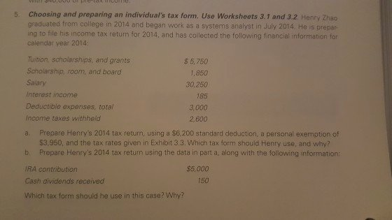 Choosing A College Worksheet Lovely solved 5 Choosing and Preparing An Individual S Tax