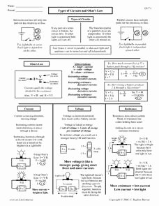 Circuits Worksheet Answer Key Awesome Types Of Circuits and Ohm S Law 9th 12th Grade Worksheet