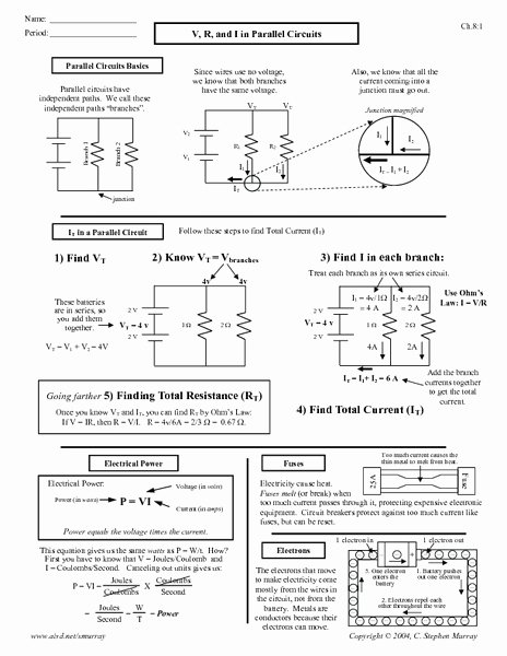 Circuits Worksheet Answer Key Awesome V R and I In Parallel Circuits Worksheet for 10th