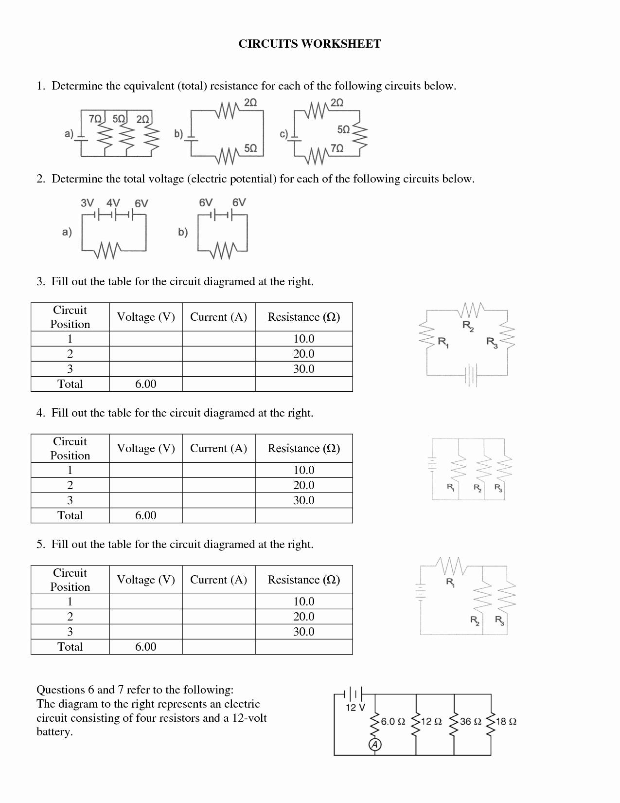 Circuits Worksheet Answer Key Beautiful 15 Electrical Circuits Worksheet A Series Circuit Problems