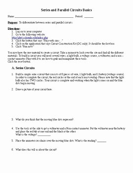 Circuits Worksheet Answer Key Beautiful Phet Simulation Series and Parallel Circuits by