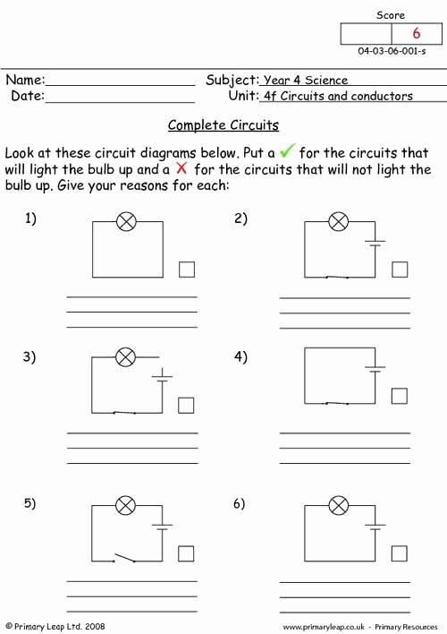 Circuits Worksheet Answer Key Best Of Plete Circuits Worksheet