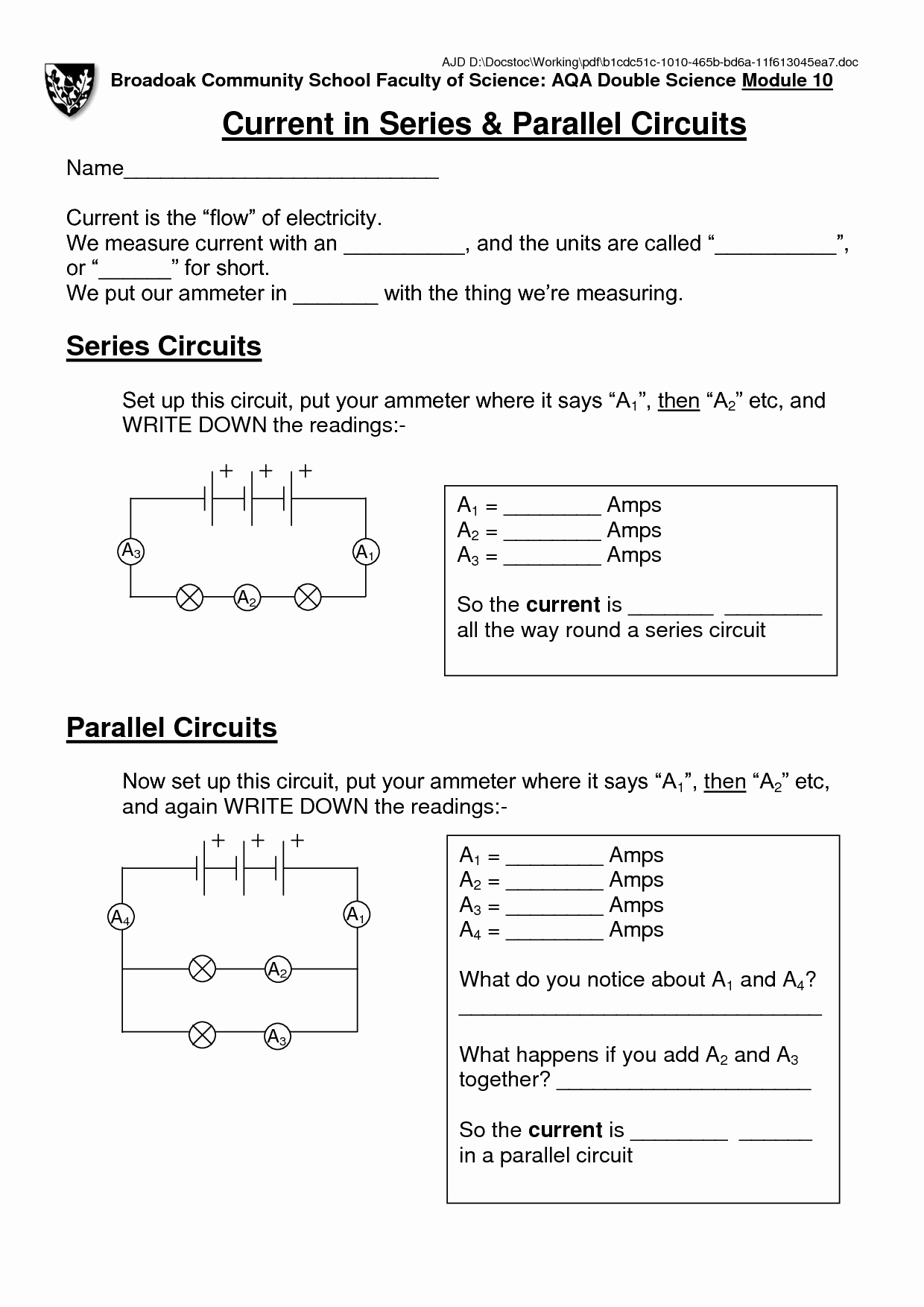 Circuits Worksheet Answer Key Inspirational Circuit Schematic Electronic Diagram Lucylimd