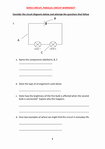 Circuits Worksheet Answer Key New Series and Parallel Circuit Worksheet with Answers by