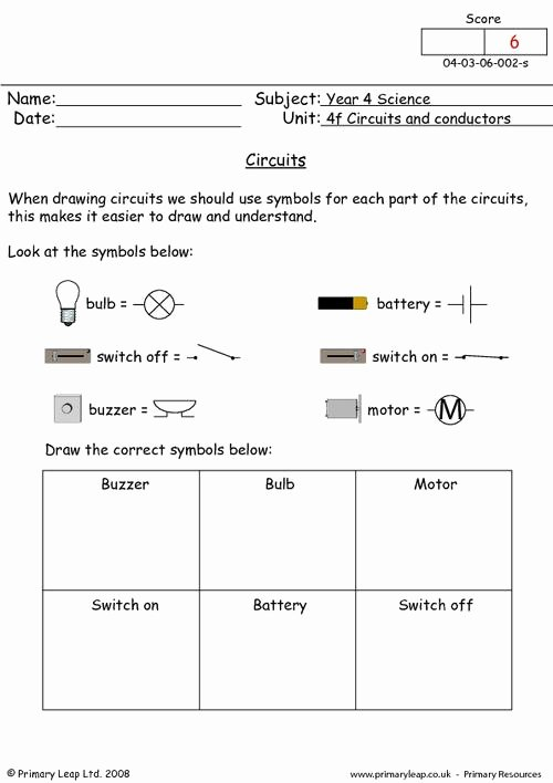 Circuits Worksheet Answer Key Unique Circuit Symbols