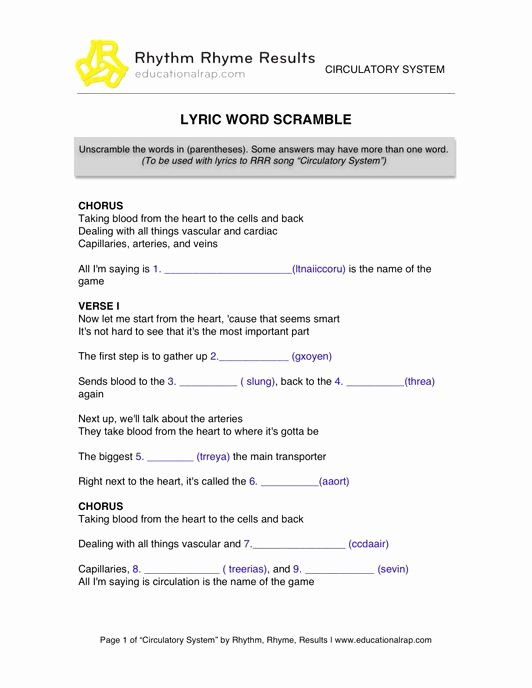 Circulatory System Worksheet Answers Awesome Circulatory System Rap song with Free Worksheets and