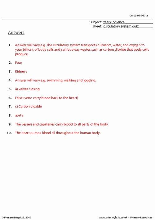 Circulatory System Worksheet Answers Beautiful Circulatory System Quiz