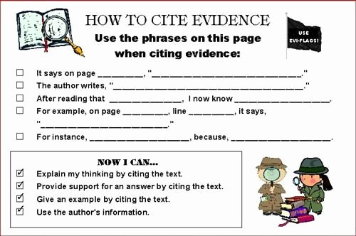 Cite Textual Evidence Worksheet Best Of Citing Evidence Graphic organizer Citeevi