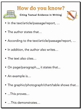 Cite Textual Evidence Worksheet Best Of Citing Textual Evidence Sentence Starters for Writing