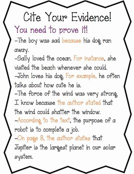 Cite Textual Evidence Worksheet Fresh Cite Evidence Anchor Chart Worksheet by Amy S Third
