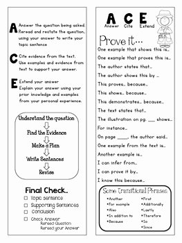Cite Textual Evidence Worksheet Inspirational Ace Answer Cite Extend Strategy for Answering Open Ended