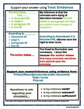 Cite Textual Evidence Worksheet Inspirational Citing Text Evidence Chart Ss by Four the Core