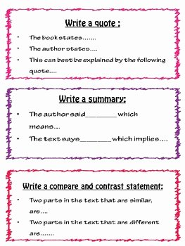 Cite Textual Evidence Worksheet Luxury Citing Evidence In Writing Sentence Starters by Mind