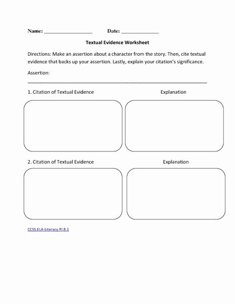 Citing Textual Evidence Worksheet Awesome Reading Literature 7th Grade Ela Mon Core Collection