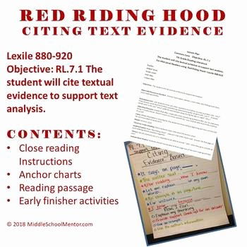 Citing Textual Evidence Worksheet Inspirational Cite Text Evidence Plete Lesson High Interest Red