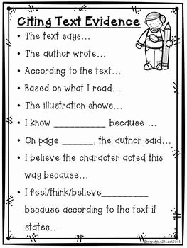 Citing Textual Evidence Worksheet Inspirational Citing Text Evidence Poster Freebie by More Time 2 Teach