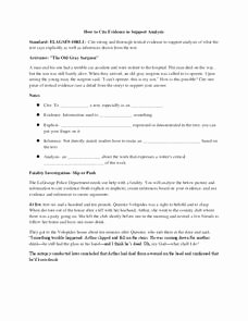 Citing Textual Evidence Worksheet Inspirational Citing Textual Evidence Lesson Plan for 9th 10th Grade
