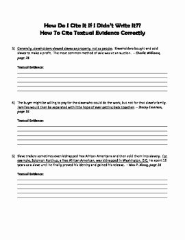 Citing Textual Evidence Worksheet New Citing Textual Evidence Practice Worksheet by Book Baby