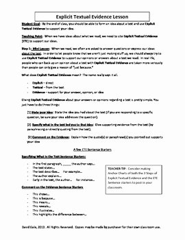 Citing Textual Evidence Worksheet New Mon Core Citing Textual by Mon Core Content