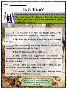 Civil War Battles Map Worksheet Inspirational American Civil War Facts Worksheets History & Impact
