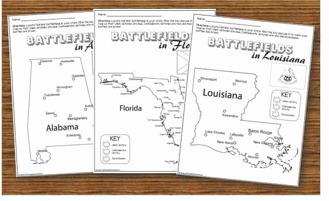 Civil War Battles Map Worksheet Luxury Free Civil War Worksheets for Kids