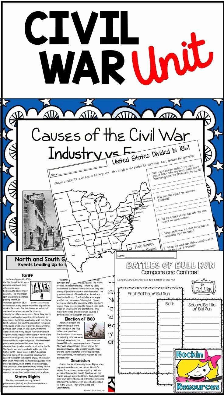 Civil War Battles Map Worksheet New Civil War Unit Civil War Battles events and People