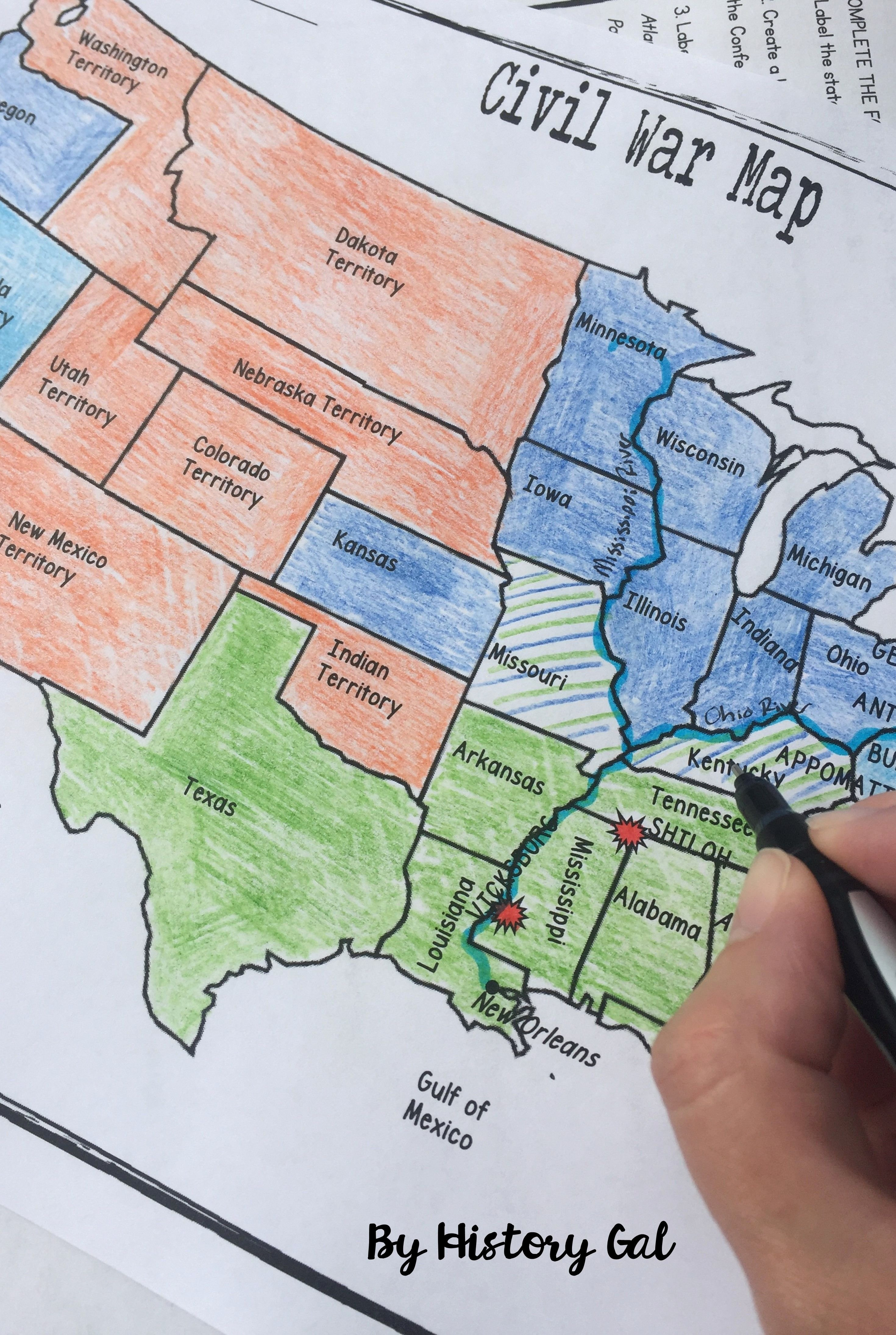 Civil War Battles Map Worksheet Unique Civil War Map Activity History Teacher