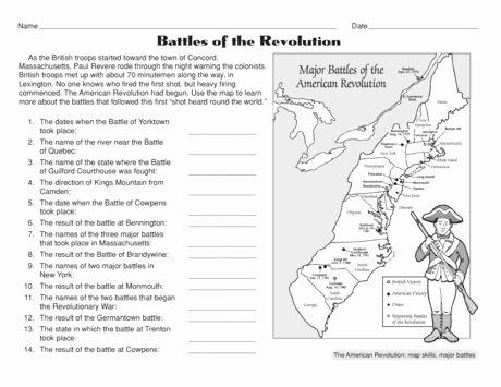 Civil War Battles Map Worksheet Unique Free Battles Of the American Revolution Worksheet