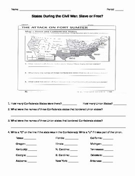 Civil War Map Worksheet Beautiful Civil War Slave or Free Map Worksheet by Rebecca Miller