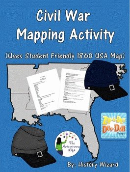 Civil War Map Worksheet Best Of Civil War Mapping Activity Uses Student Friendly 1860 Usa