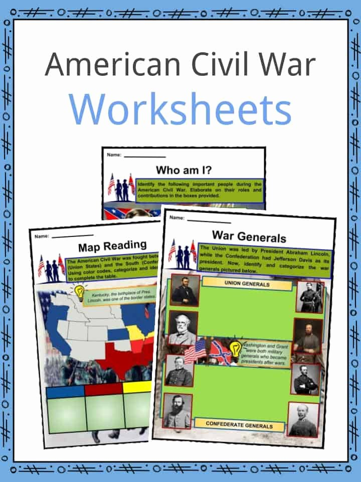Civil War Map Worksheet Elegant American Civil War Facts Worksheets History & Impact