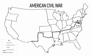 Civil War Map Worksheet Fresh Outline Civil War Map by Haystory Lessons